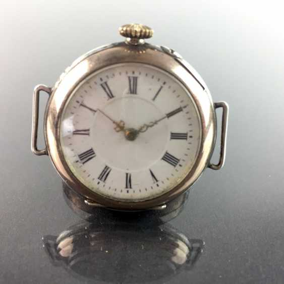Ladies FOB watch / ladies wrist watch: silver 800, gold edge (Galonné), finely engraved, cylinder escapement, 1900, very good - photo 2