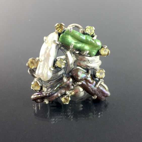 Fancy ladies ring: four large natural pearls, eight Citrine, 925 sterling silver - eye catcher! - photo 1