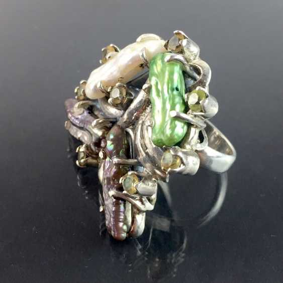 Fancy ladies ring: four large natural pearls, eight Citrine, 925 sterling silver - eye catcher! - photo 3
