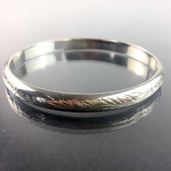 Solid bangle bracelet: art Nouveau engraved silver 835, handmade around 1920. - photo 1