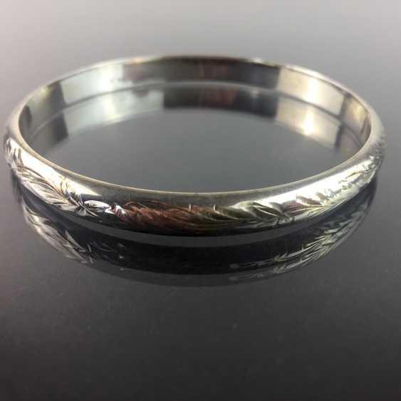 Solid bangle bracelet: art Nouveau engraved silver 835, handmade around 1920. - photo 2