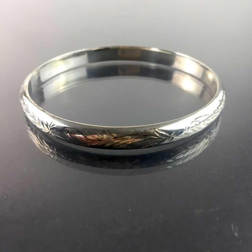 Solid bangle bracelet: art Nouveau engraved silver 835, handmade around 1920. - photo 3