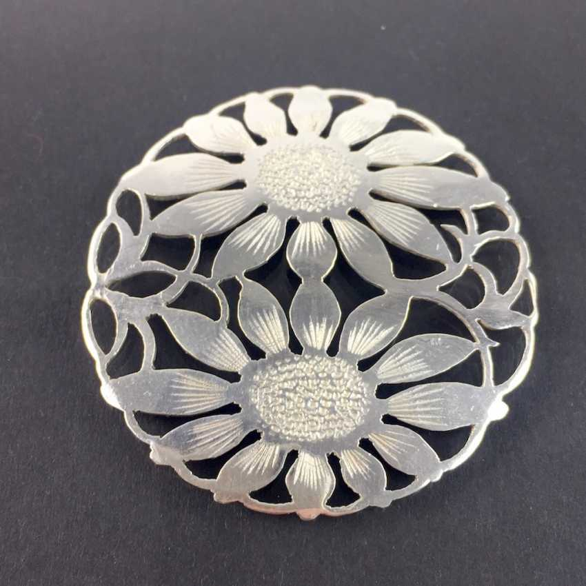 Costume badge brooch Charivari: hand work, two sunflower, silver 900, very nice. - photo 1