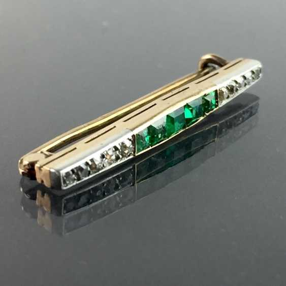 Stick pin / bar brooch: Yellow Gold 585, five emeralds in the best quality, 10 diamonds, very nice. - photo 2
