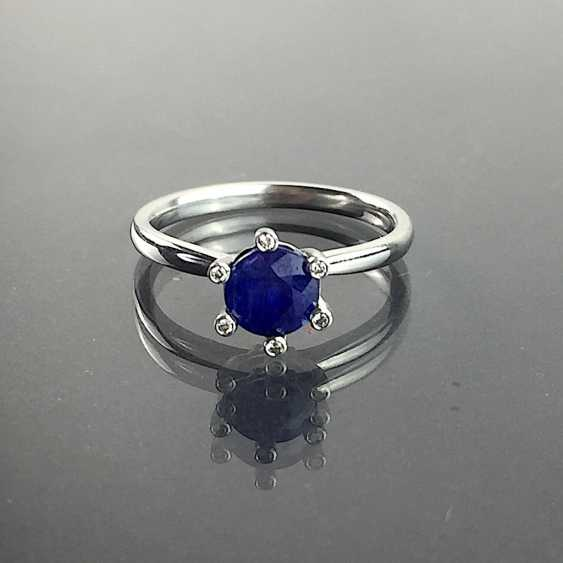 Precious ladies ring with sapphire and diamonds in 950 platinum! - photo 2