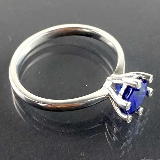 Precious ladies ring with sapphire and diamonds in 950 platinum! - photo 3