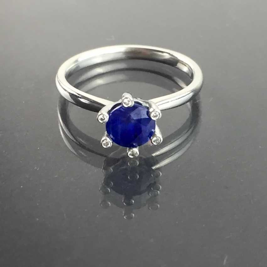 Precious ladies ring with sapphire and diamonds in 950 platinum! - photo 4