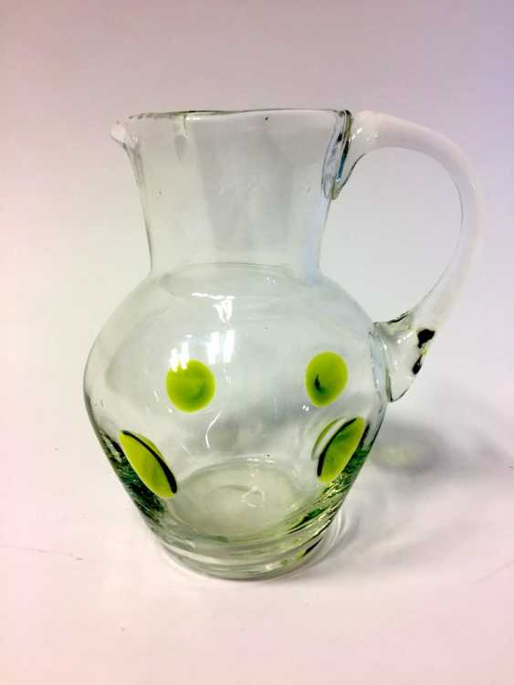 Glass jug with green glass-melting, 19. Century - photo 1