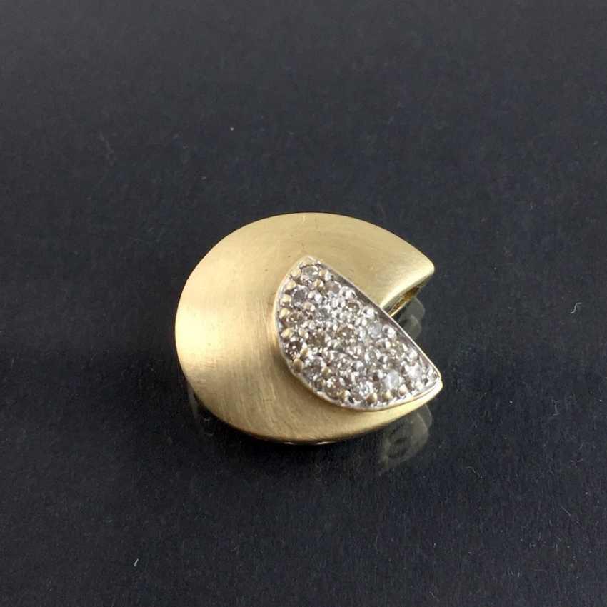 Designer pendant: yellow gold and white gold 585, brilliants. Unique. - photo 1