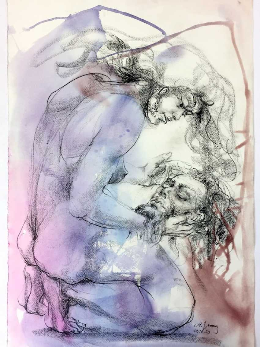 """Anni Jung: """"Salome with the head of John"""". Simultaneous watercolor on handmade paper. 1990. Unique. - photo 1"""