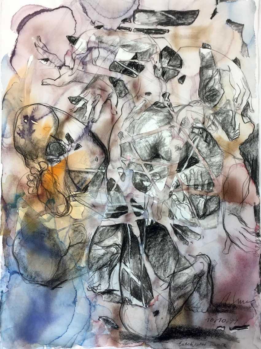 "Anni Jung: ""Extatischer Dance"". Simultaneous watercolor on handmade paper. 1991. Unique. - photo 1"