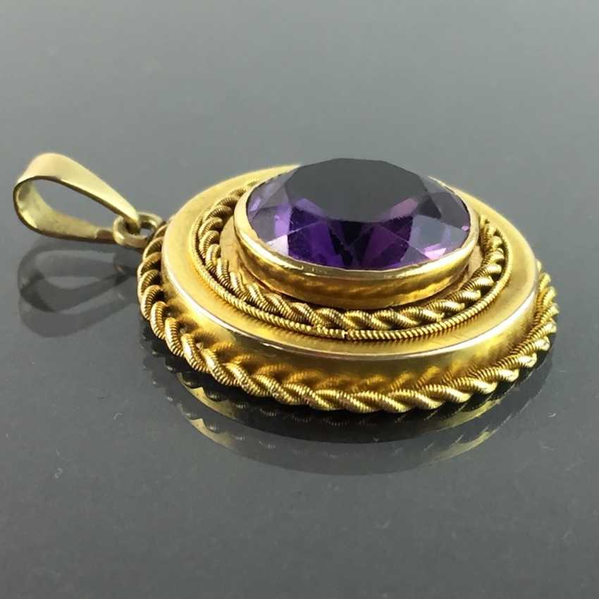 Pendant with a large Amethyst: yellow gold 585. - photo 2