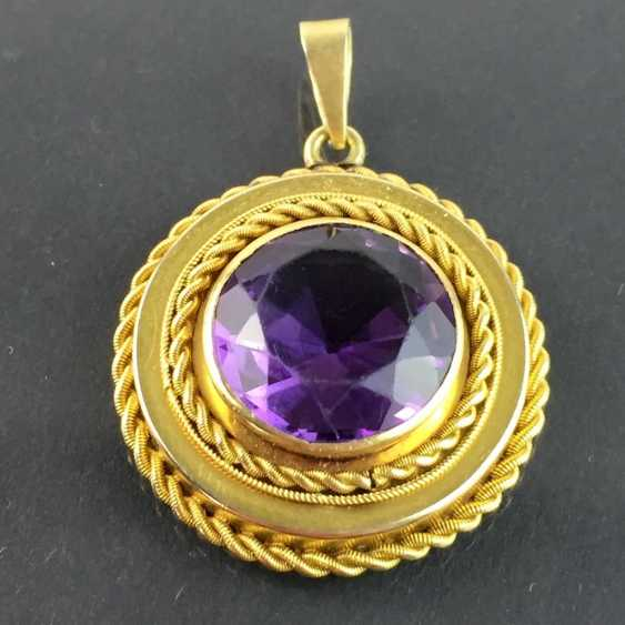 Pendant with a large Amethyst: yellow gold 585. - photo 3