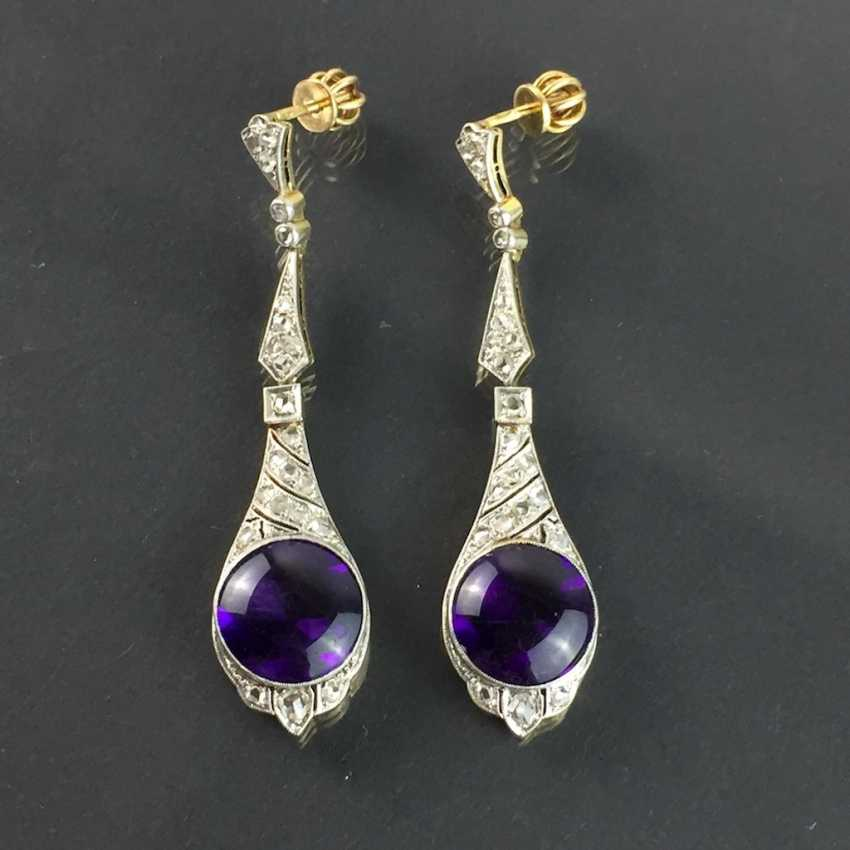Exclusive Amethyst and diamond earrings: white gold and yellow gold 750, Cocktail style, 1. Half of the 20. Century Communications. - photo 1