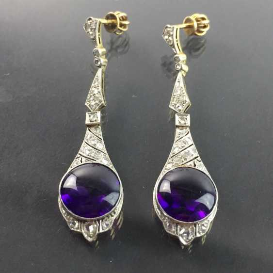 Exclusive Amethyst and diamond earrings: white gold and yellow gold 750, Cocktail style, 1. Half of the 20. Century Communications. - photo 3