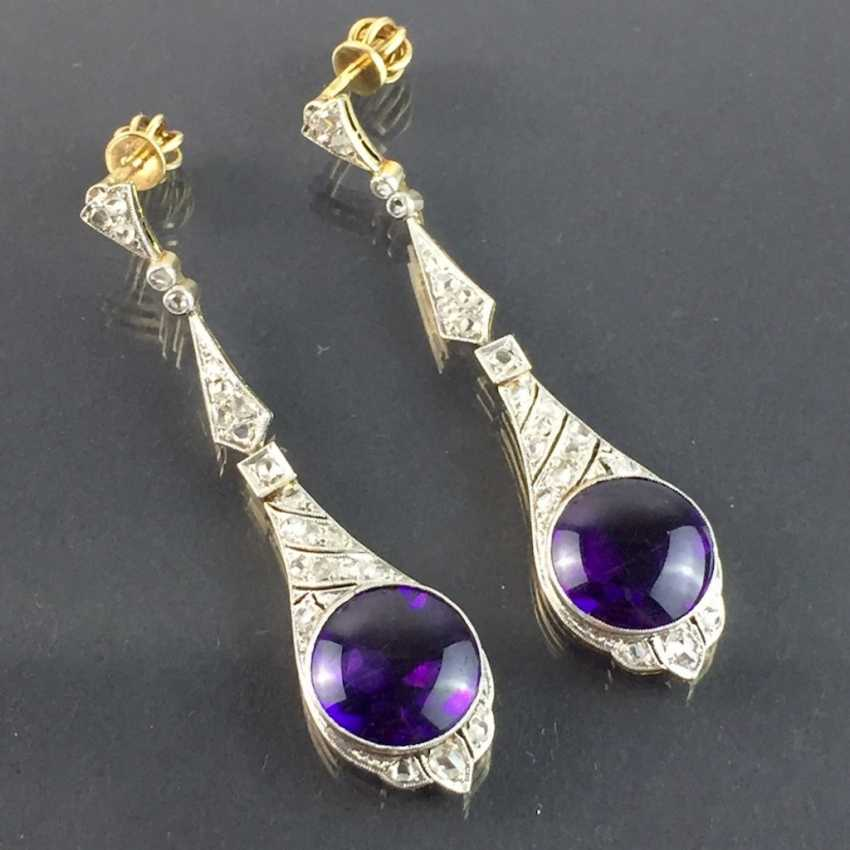 Exclusive Amethyst and diamond earrings: white gold and yellow gold 750, Cocktail style, 1. Half of the 20. Century Communications. - photo 7