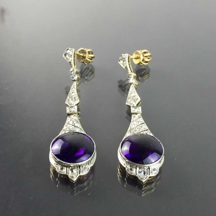 Exclusive Amethyst and diamond earrings: white gold and yellow gold 750, Cocktail style, 1. Half of the 20. Century Communications. - photo 8
