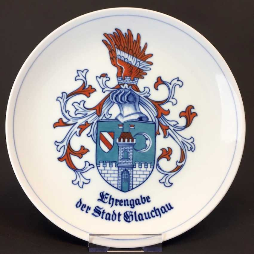 "Wall Plate Meissen Porcelain. ""Testimonial of the city Glauchau"". - photo 1"