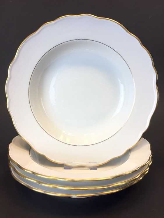 Four Soup Plates: Meissen Porcelain. The gold edge. - photo 1