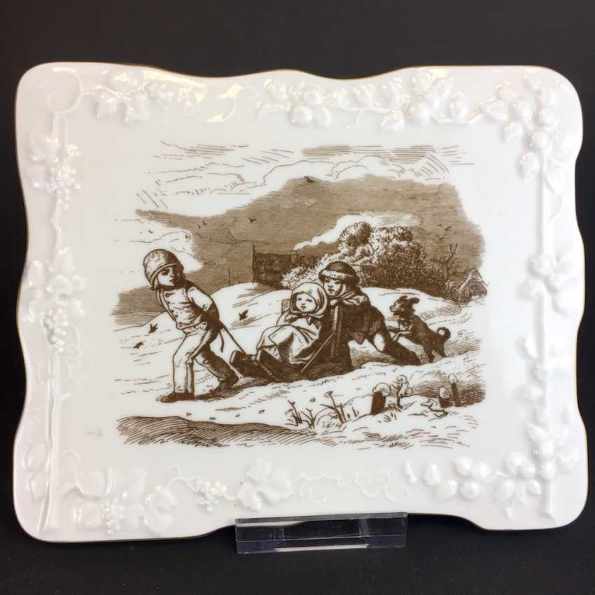 """Wall Plate / Porcelain Image: Meissen Porcelain. Ludwig Richter: """"children in the snow"""". - photo 2"""