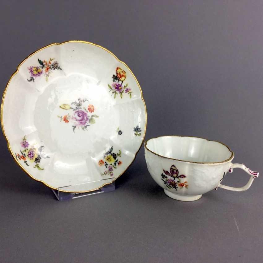 Johann Friedrich Eberlein: Meissen porcelain Cup for J. E. Gotzkownsky, with a bouquet of flowers. 1742 - 1745. Very rare un - photo 1