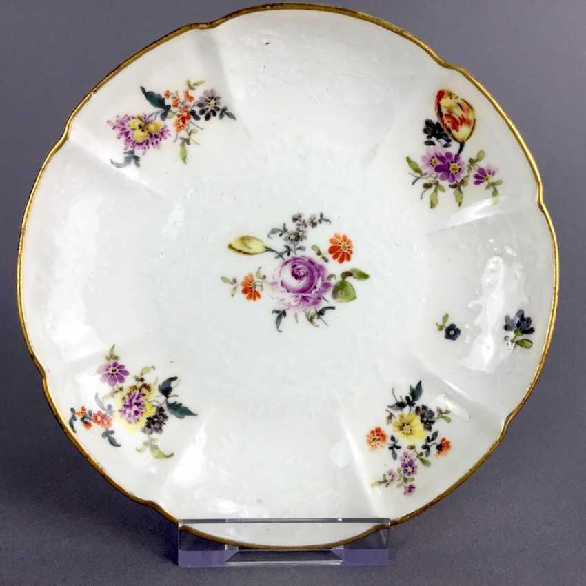 Johann Friedrich Eberlein: Meissen porcelain Cup for J. E. Gotzkownsky, with a bouquet of flowers. 1742 - 1745. Very rare un - photo 2