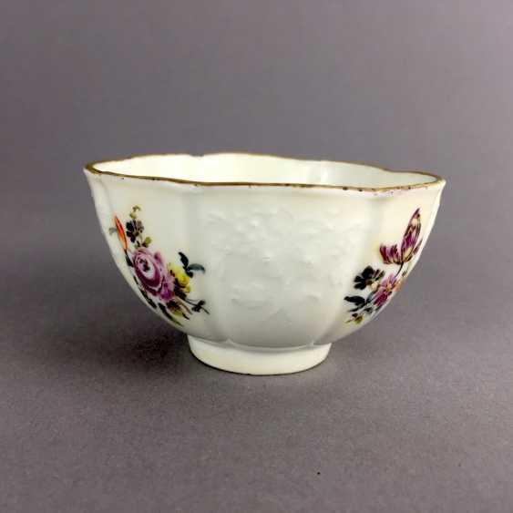 Johann Friedrich Eberlein: Meissen porcelain Cup for J. E. Gotzkownsky, with a bouquet of flowers. 1742 - 1745. Very rare un - photo 3