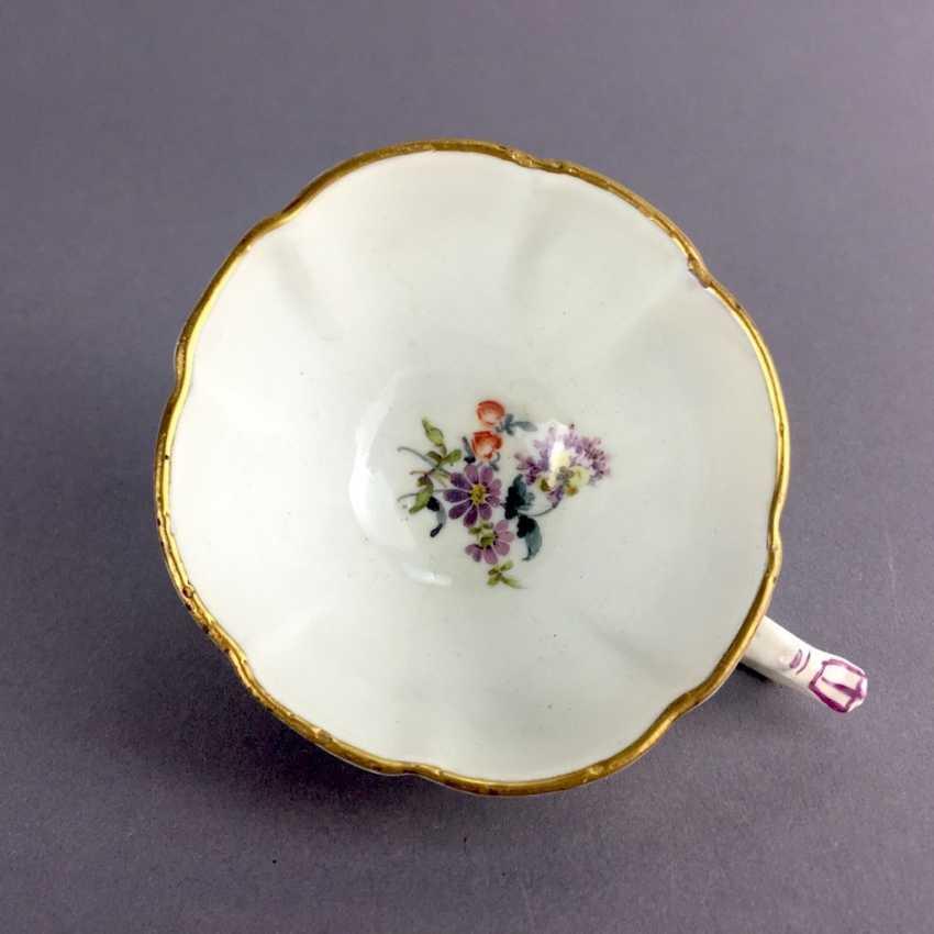 Johann Friedrich Eberlein: Meissen porcelain Cup for J. E. Gotzkownsky, with a bouquet of flowers. 1742 - 1745. Very rare un - photo 4