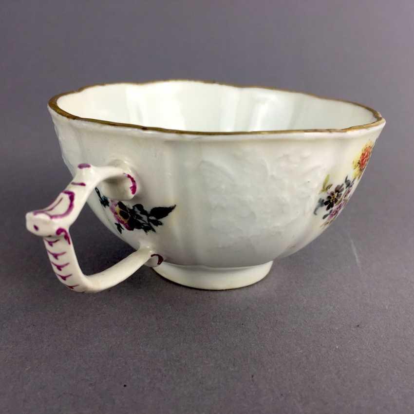 Johann Friedrich Eberlein: Meissen porcelain Cup for J. E. Gotzkownsky, with a bouquet of flowers. 1742 - 1745. Very rare un - photo 5