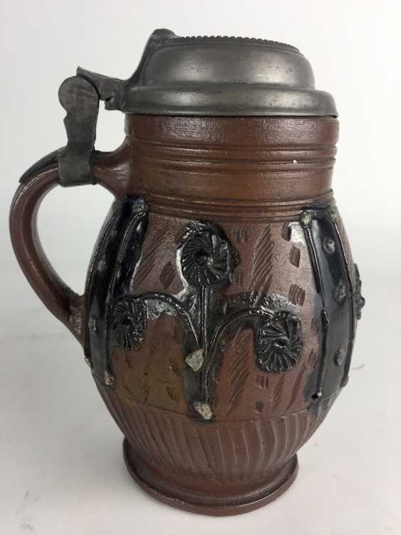 Baroque stoneware pear pitcher: glazed, original tin lid, Muskau, around 1780, in very good condition. - photo 1