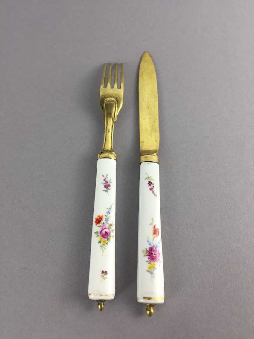 Cutlery: Meissen Porcelain. Knife and fork silver plated with porcelain handles. - photo 3