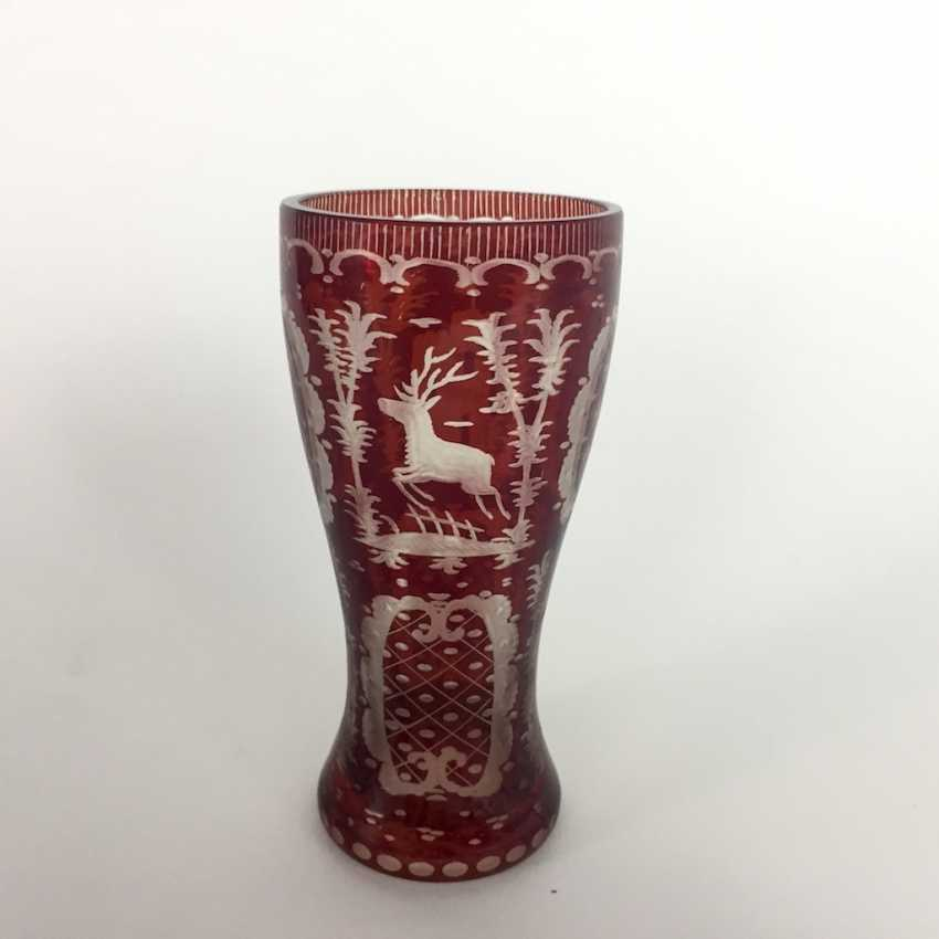 Extraordinary Cup: glass, ruby colors stained. Bohemia, 19. Century - photo 2