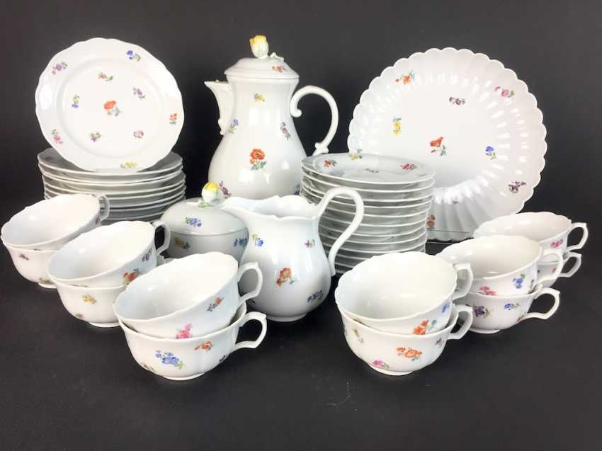Tea Service, Meissen porcelain, New cutting, decor, scattered flowers, circa 1910, perfectly! - photo 1