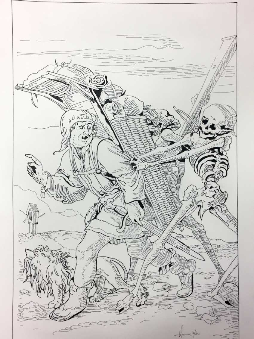 "After Hans Holbein the Younger: ""death and the huckster"". Large Format Ink Drawing. - photo 1"
