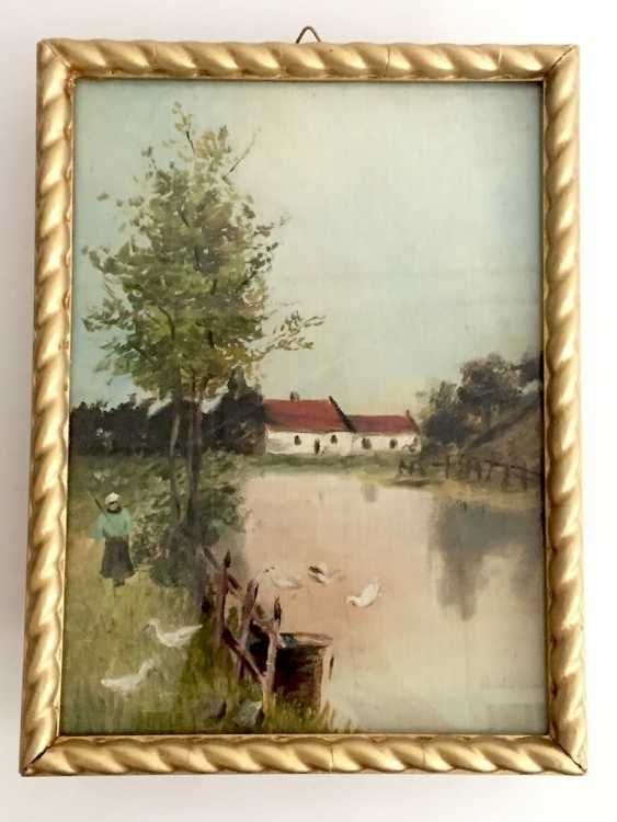 German artists: landscape with farm. Oil on canvas. - photo 1