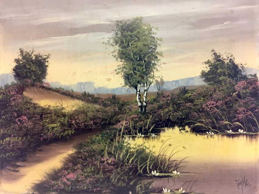 German artist: moor landscape with pond, Oil on canvas. - photo 1