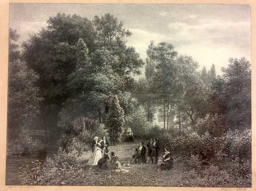 "Lithography A. Lüttmann, according to Carl Jung's home: ""The Jacobi'sche garden in Düsseldorf"". 1856. - photo 1"