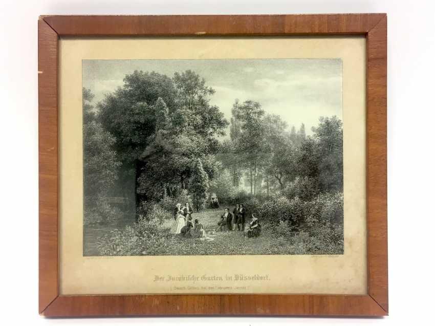"Lithography A. Lüttmann, according to Carl Jung's home: ""The Jacobi'sche garden in Düsseldorf"". 1856. - photo 2"