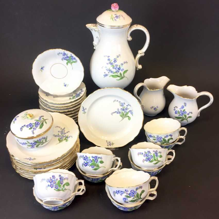 Tea Service, Meissen porcelain, New neck decor don't forget my, around 1910, rare. - photo 1