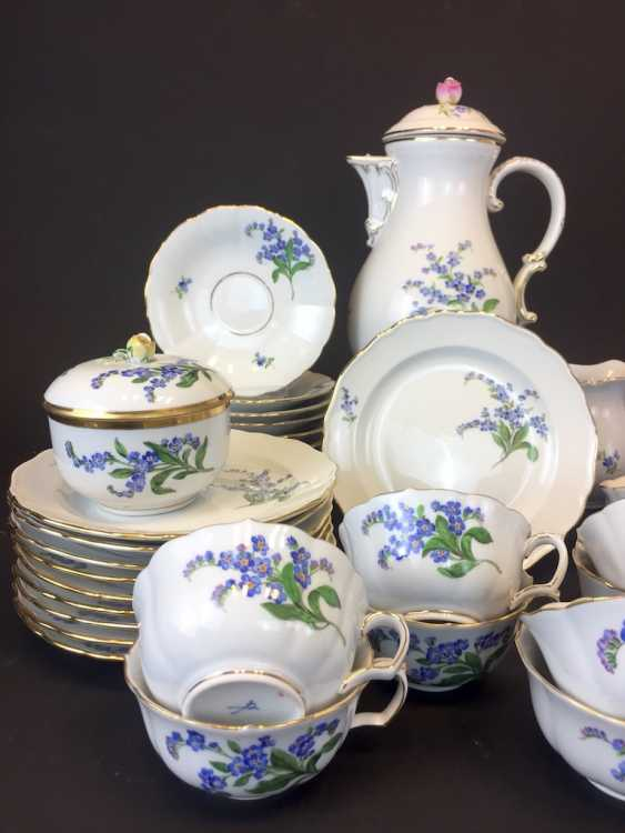 Tea Service, Meissen porcelain, New neck decor don't forget my, around 1910, rare. - photo 2
