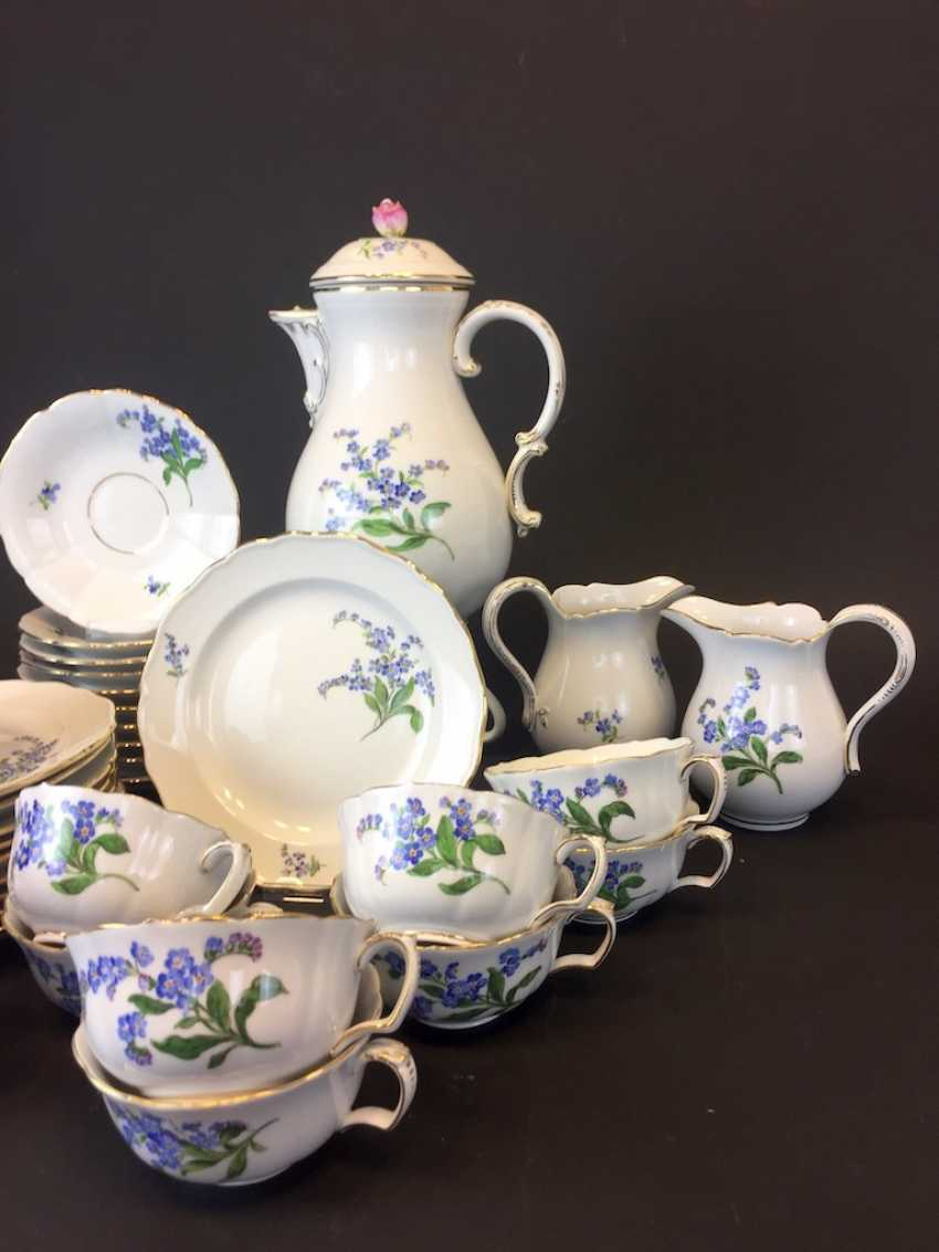 Tea Service, Meissen porcelain, New neck decor don't forget my, around 1910, rare. - photo 3