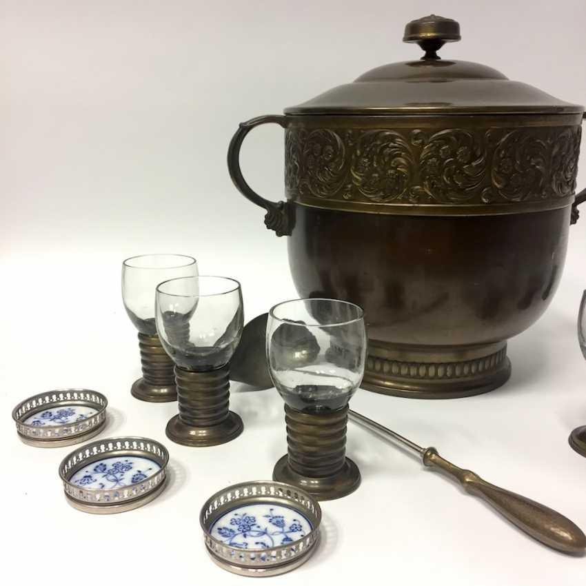 Art Nouveau Punch bowl / Punch bowl with ladle and six glasses. 1900. - photo 2