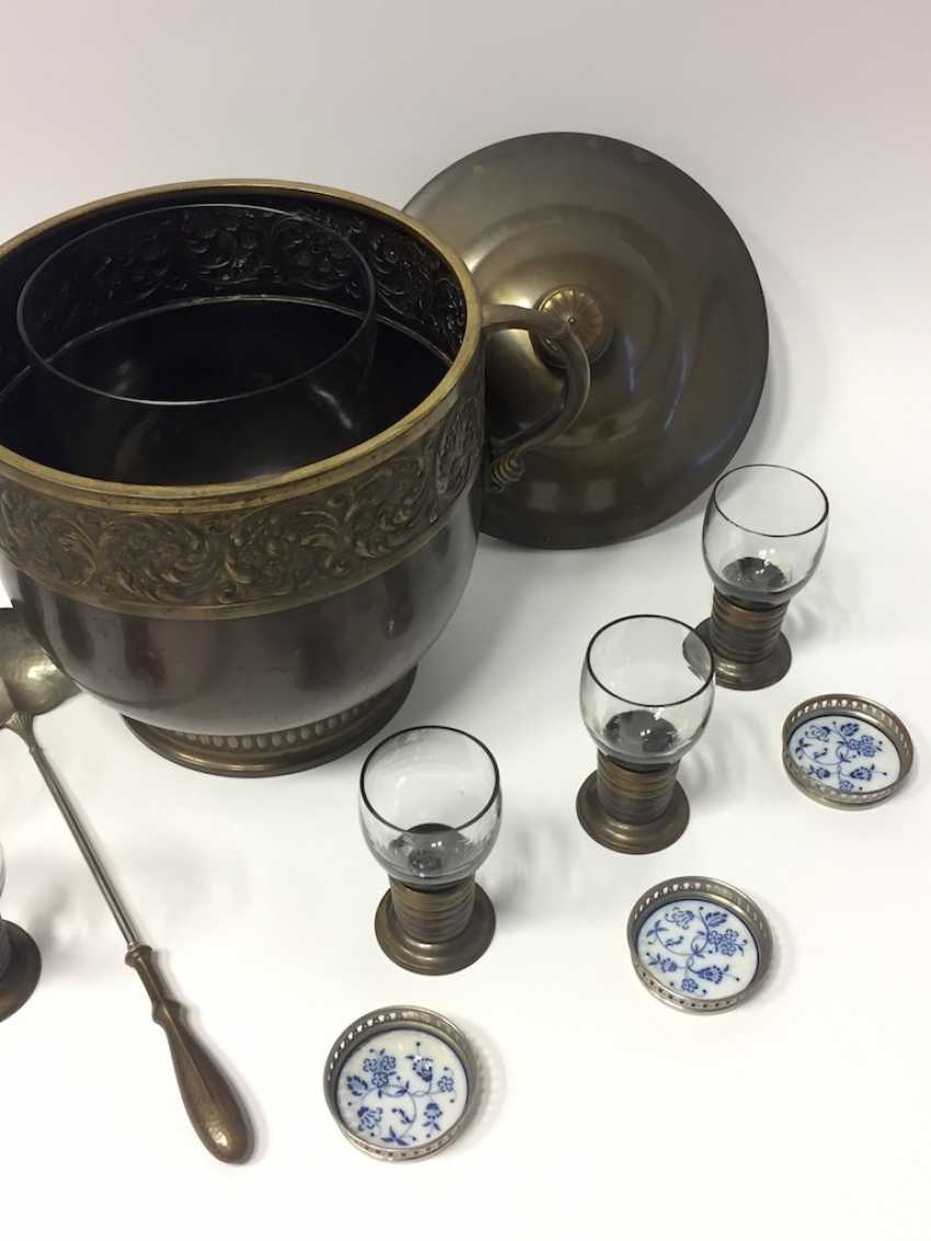 Art Nouveau Punch bowl / Punch bowl with ladle and six glasses. 1900. - photo 6