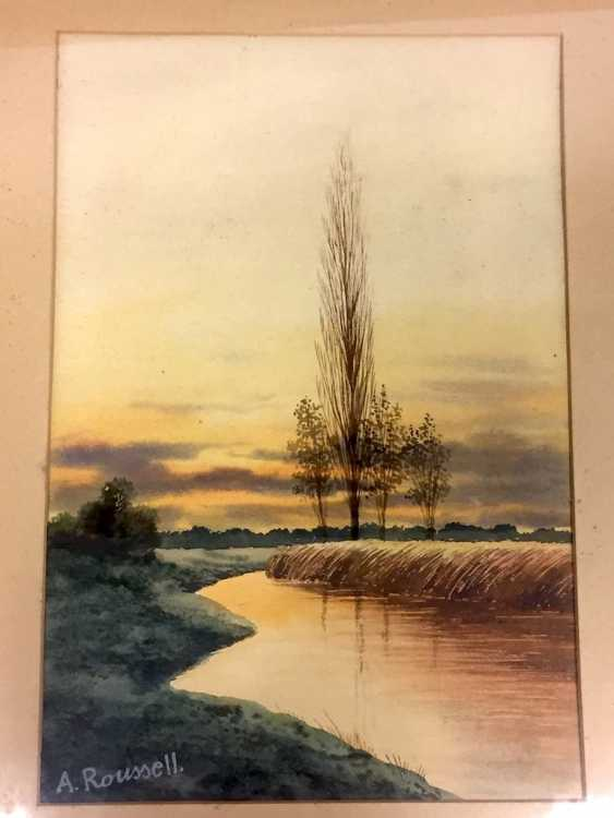 A. Roussel: landscape with river. Watercolor on handmade paper. - photo 1