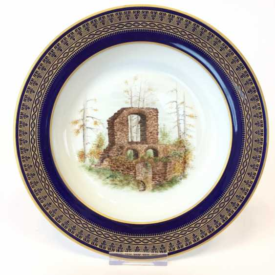 """Special views of plate: Meissen porcelain, gold rim, Form T-smooth, """"view of monastery Altzella"""". Unique. - photo 1"""