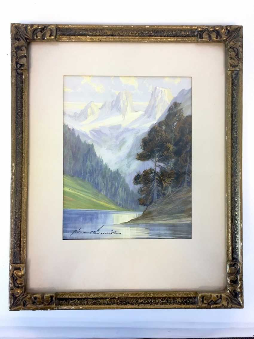 Heinz Munnich: mountain view with lake. Watercolor 1950. - photo 2