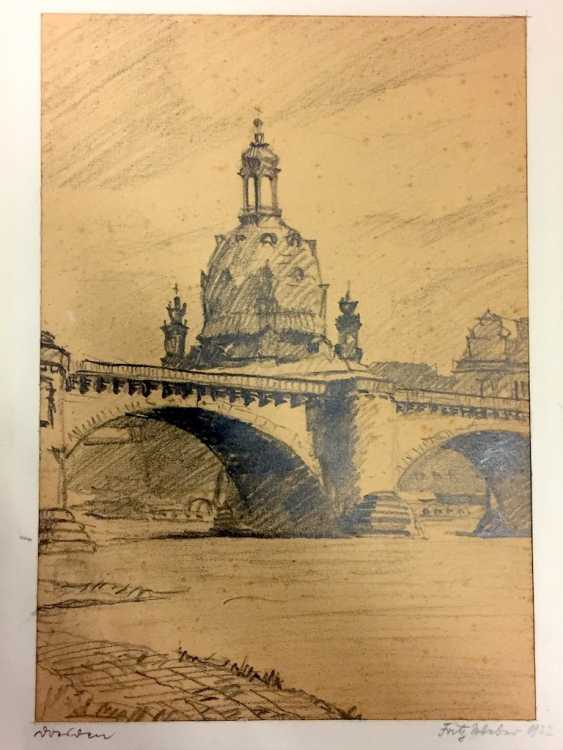 "Fritz Weber: ""Dresden"". Pencil Drawing. 1922. - photo 1"