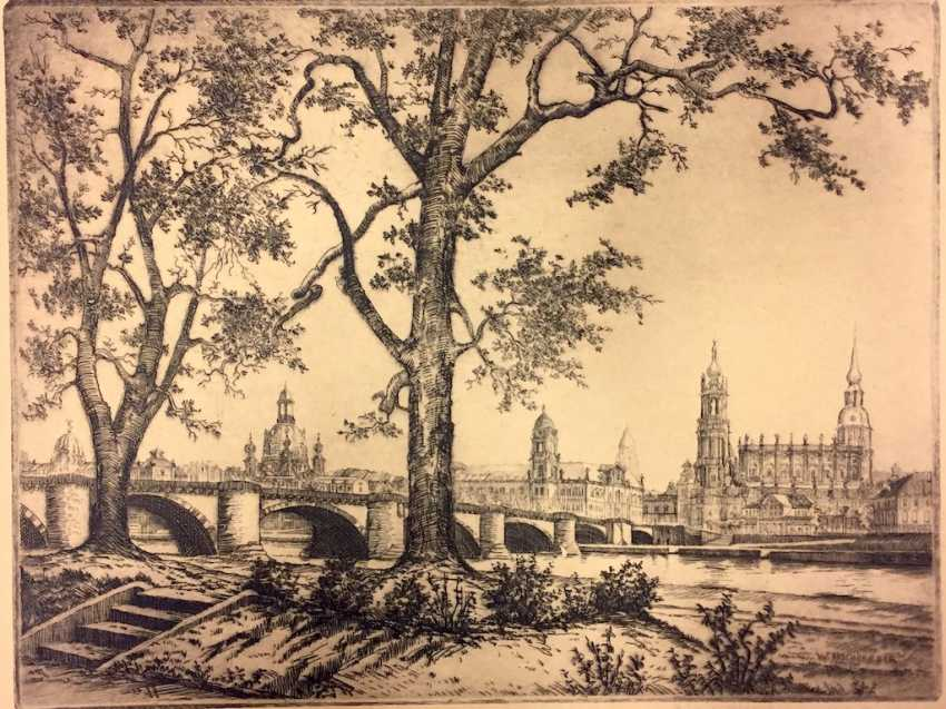 """W. High-Berger: """"Dresden"""". Etching. Without The Year. - photo 1"""