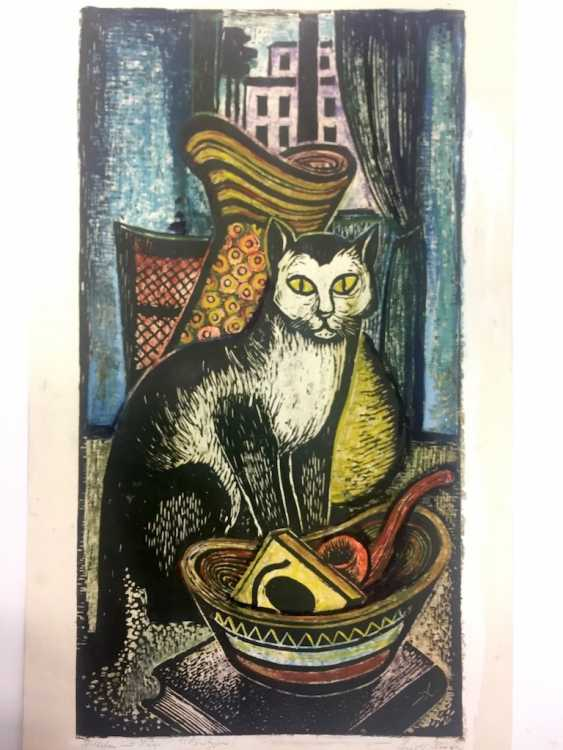 "Rudolf Krüger: ""still life with cat!"". Monotype. Hand Colored Wood Cut. Without The Year. - photo 1"