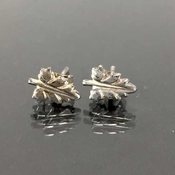 Earrings in leaf shape: 925 silver. - photo 1